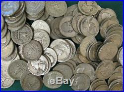 $100 Hundred face 90% SILVER WASHINGTON QUARTERS 400 Coins 1932 1964 TEN ROLLS