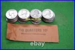 $10.00 FACE VALUE ROLL 40 1964 90% SILVER WASHINGTON QUARTERS AU to BU rzcs