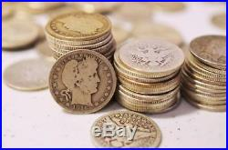 $10.00 Face Roll 90% Silver Coins Barber Quarters Av Circ. 40 Coins. 900 Fine