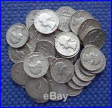 $10.00 Face Roll 90% Silver U. S. Coins Washington Quarters 40 Coins. 900 Fine