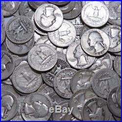 $10 FACE 90% SILVER Washington Quarters 40 COINS FULL ROLL AVG CIRC Lot #14355V