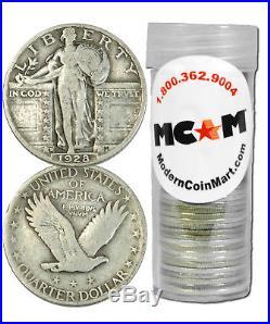 $10 Face Value Roll (40) 90% Silver Standing Liberty Quarter Avg Cir SKU32686