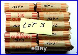 10 Rolls of 1964 Washington Silver Quarters