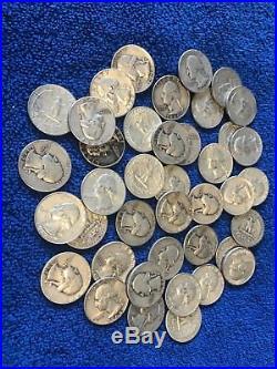 $10 Washington Quarters 90% Silver, 40 Coin Roll Average Circulated