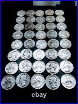 17 Lots of 40 Washington Quarter 90% Silver Coins 1 Roll AG-F/VF RANDOM DATES