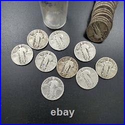 1925-30 Standing Liberty 90% SILVER Quarter Roll 40 Coins ALL FULL DATE Good +
