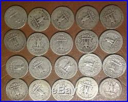 1932 1958 Old Washington Silver Quarter 40 Coin P D S Roll Face Value $10
