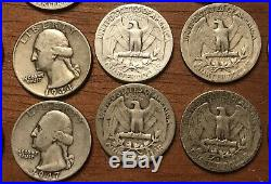 1932 to 1949D Washington Quarters 90% Silver 1 Roll 40 DIFFERENT Coins