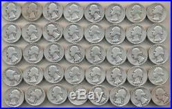 1936 1960 Washington Quarter 90% Silver Lot Of 40 (1) Roll $10 Face Fv