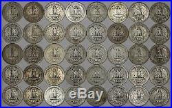 1936 D Washington Quarter 25c Average Circulated Full Roll 40 Coins