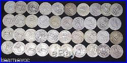 1937 D Washington Quarters Good G Fine F Avg Circ Full Roll 40 Silver Coins