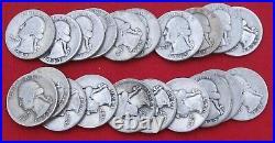 1940 1949 Washington Quarter Half Roll 90% Silver Mixed Ave Circ. (20)