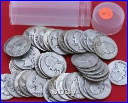 1940 1949 Washington Quarter Roll 90% Silver Random Dates Ave Circ. (40)