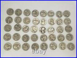 1940-1949 Washington Quarters $10 FV 90% Silver 40/Roll DISCOUNT FOR MULTIPLES