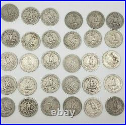 1940-1949 Washington Silver Quarters $10 FV 90% 40/Roll NICE COINS! By Date