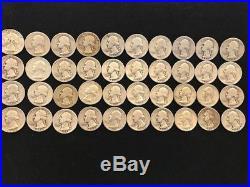 1941 & 1944 80 Washington Quarters 90% Silver Two Rolls