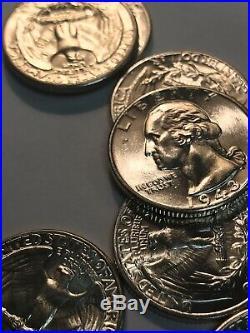 1943 P Washington Quarter Roll WW2 Choice BU 40 Coin Lot 10$ FV 90% Silver