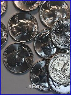 1943 P Washington Quarter Roll WW2 -Choice BU 40 Coin Lot- 10$ FV 90% Silver