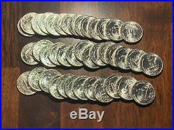 1945-d Gem Bu Original Roll (40 Coins)washington Silver Quarters Blazing (d100)