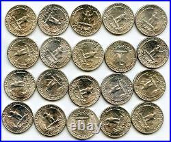 1948 Washington Quarter Silver 40-Coin Roll Unc Philadelphia Mint lot BG946