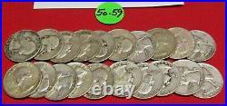 1950-1959 Washington Quarter Half Roll 90% Silver Ave. Circulated -20 Coins