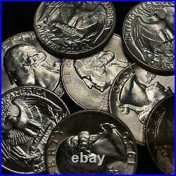 1950-P Uncirculated Washington Silver Quarter ORIGINAL ROLL, 40 Coins BU