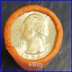 1954 D WASHINGTON QUARTER ROLL 90% SILVER MS UNC GEM BU original bank wrap OBW