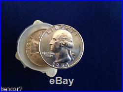 1954-S Washington Silver Quarters BU Original Roll of 40 Coins E4827