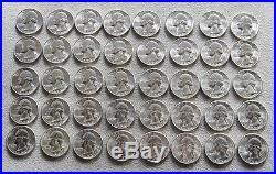 1954 -s Silver United States Washington Quarter Roll Choice Unc Condition
