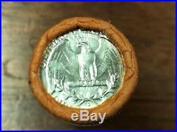 1955 D UNC. Silver Washington Quarters in shotgun roll (40) quarters