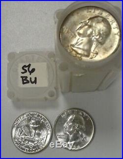 1956 P Washington Quarter Gem B. U. Roll 40 Coins Silver #2