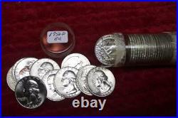 1958-D (GEM BU) LUSTROUS Silver Washington Quarter Roll (40 coins) BRILLIANT