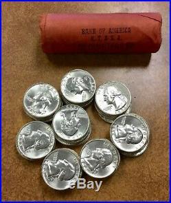 1958-d OBW Shotgun Roll 90% Silver Quarters frosty white 40 BU Coins