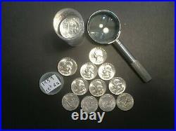 1959 Washington Quarter Roll Of 40 Bu 90% Silver Coins