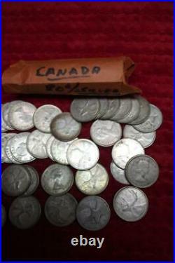 1960-1967 CANADIAN 80% SILVER Bullion Quarters, FULL ROLL of (40) Quarters, Circ