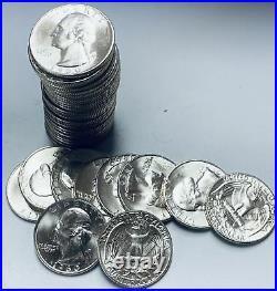 1960-D Roll of 40 Washington Silver Quarters GEM BU