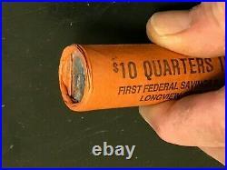 1961 P Unc. OBW $10 Roll Washington Quarter BU 90% Silver Original Bank Wrap