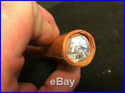 1961 P Unc. OBW $10 Roll Washington Quarter BU 90% Silver TYPE B REV end coin