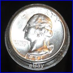 1961-p Washington Silver Quarters Original Choice Bu Roll Bright White Blazers