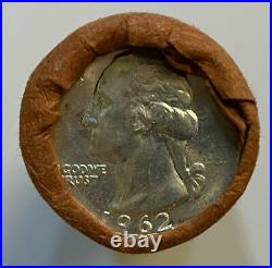 1962-P Original Bank Wrap OBW Roll BU Uncirculated 40 Silver Washington Quarters