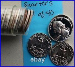 1962 Silver Proof Washington Quarter 40 Coin Roll 25c Forty 25 Cents in Tube