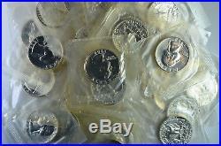 1964 25c Silver Proof Washington Quarter Roll 40 Coins Mint Cellophane