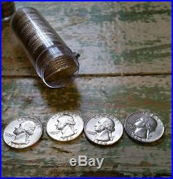 1964 90% Silver Washington Quarters $100 face value 10 Rolls with Bag