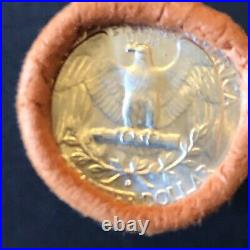 1964 D Obw Uncirculated $10 Roll Washington Quarter Bu 90% Silver