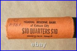 1964 D Washington Quarter Original Bank Wrap Roll Obw Federal Reserve 25 Cents