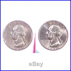 1964 P D Washington Quarter Mint Cello 90% Silver BU Roll 40 US Coin Lot