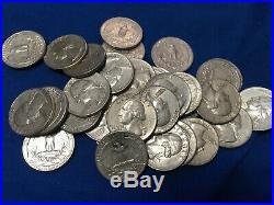 1964 P Washington Quarter Roll 90% Silver 40 Coins