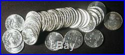 1964 Washington 90% silver Quarters BU Roll $10 face value 40 coins
