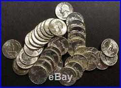 1964 Washington Quarter. Choice Bu Roll Of 40 Silver Coins. Buy It Now