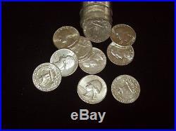 1964 Washington Quarters 90% Silver Uncirculated Full Roll